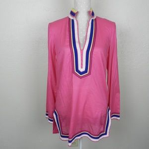 Tory Burch Pink Ribbon Trim Tunic Size 8